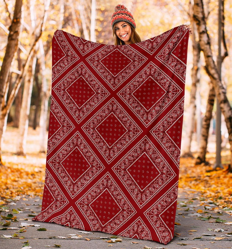 Maroon Red Bandana Throw Blanket