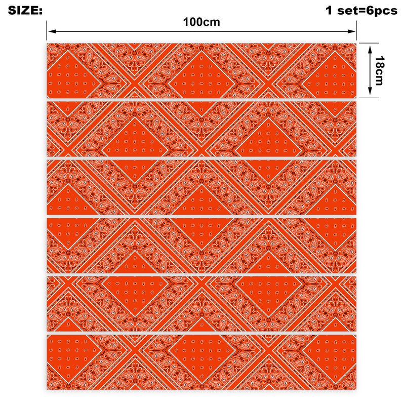 Perfect Orange Bandana Stair Stickers 6 Steps