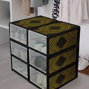 Black and Gold Bandana Shoe Organizers