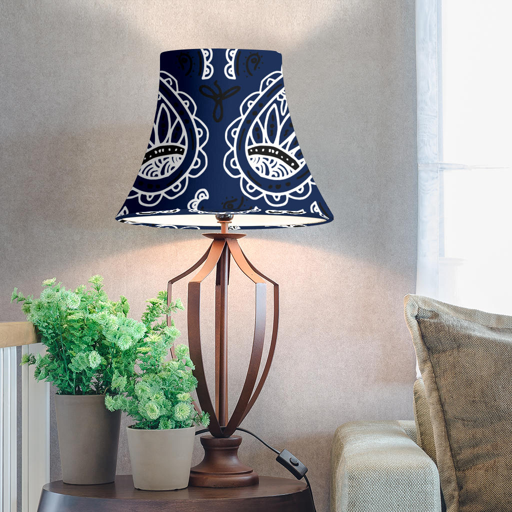 Navy Blue Paisley Bell Lampshades