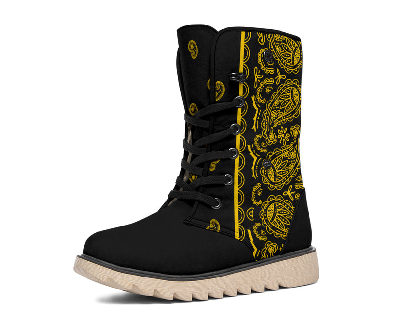 black and gold bandana winter boots