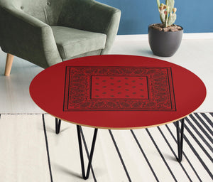 Red and Black Round End Tables