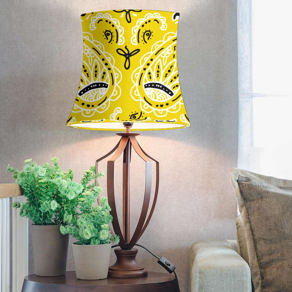 Yellow Paisley Drum Lampshades