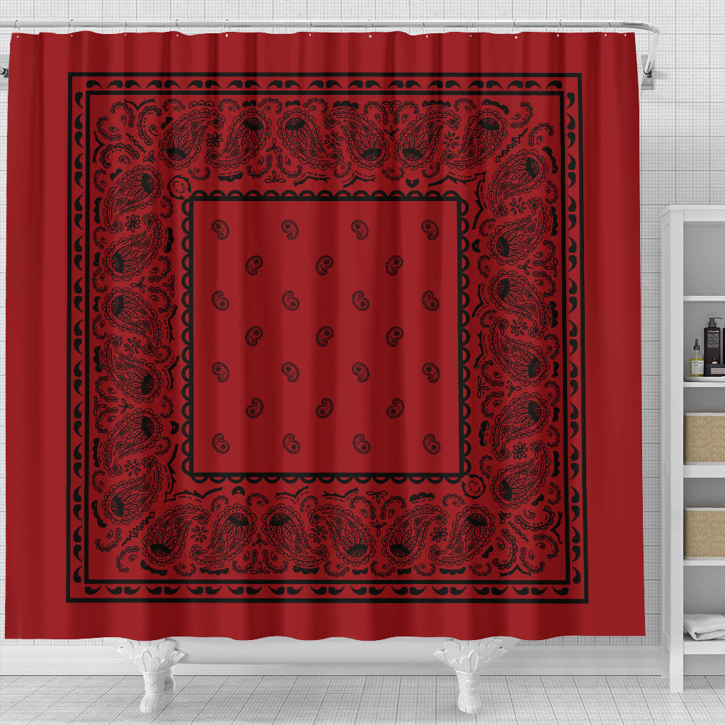 Red with Black Bandana Shower Curtain