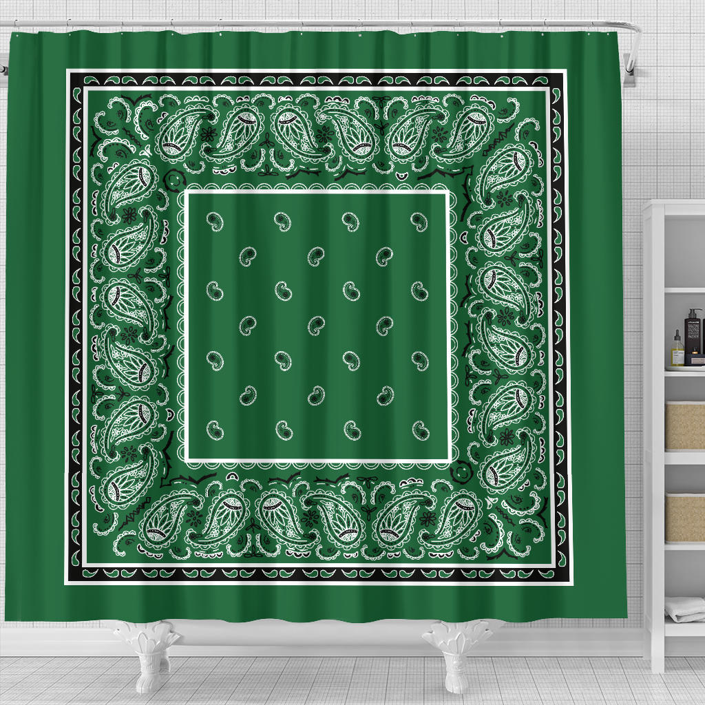 Classic Green Bandana Shower Curtain