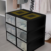 black and gold bandana shoe organizer box