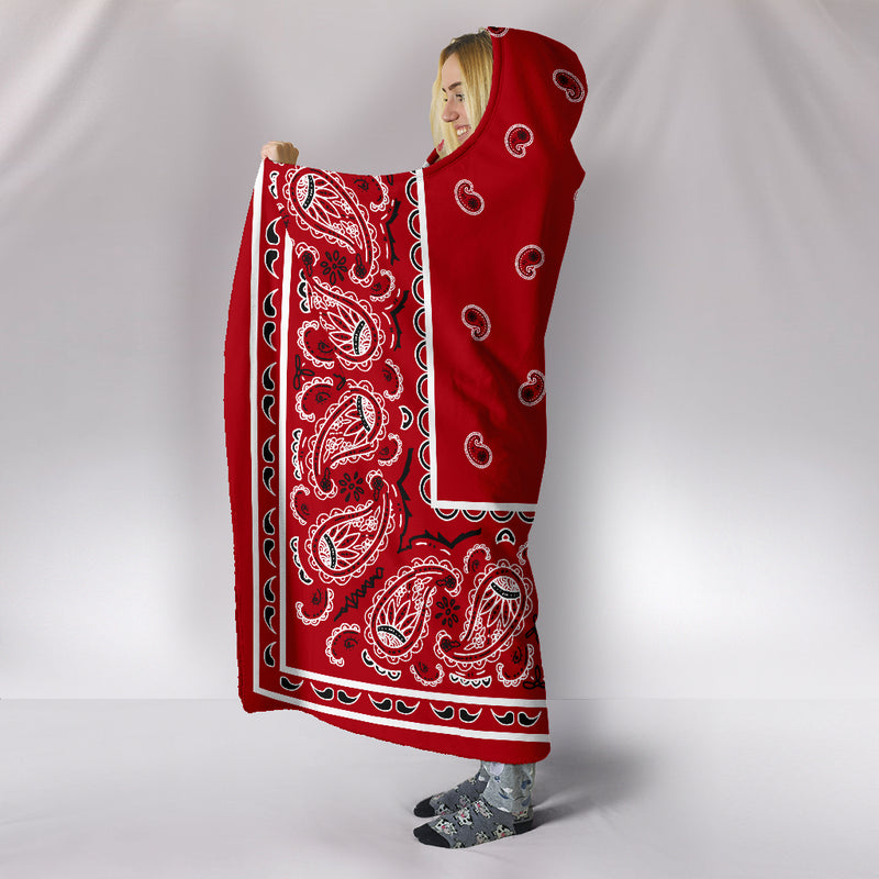 red bandana hooded blanket side view