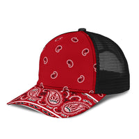 red bandana mesh back hat