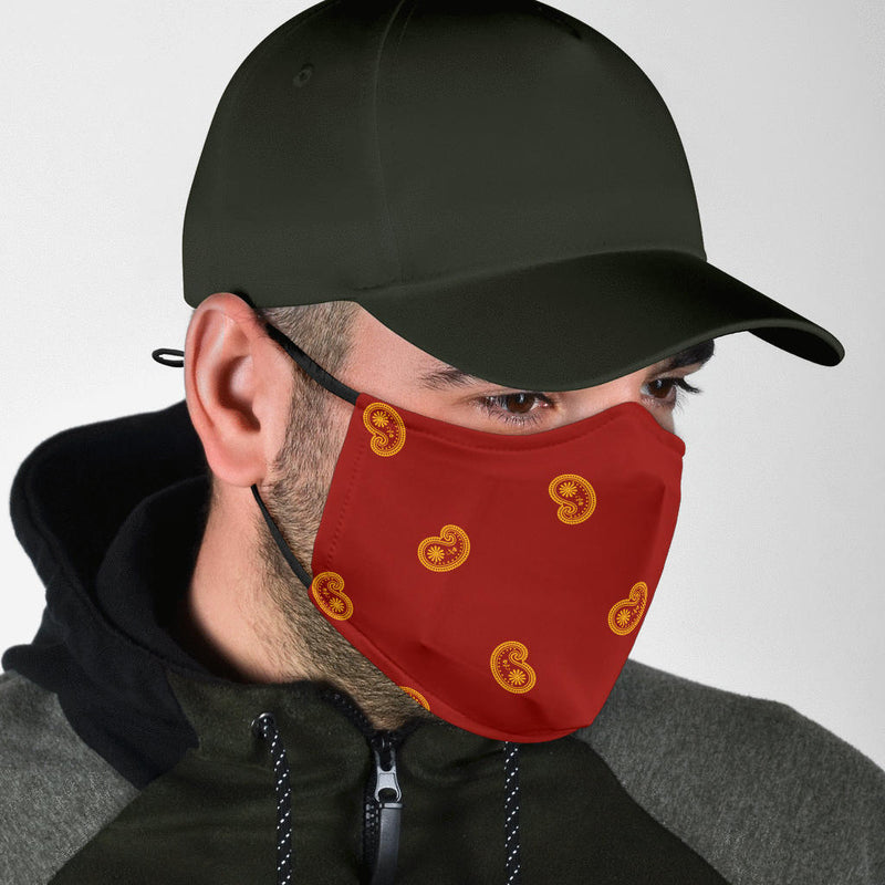 Adjustable Red and Gold Paisley Face Mask with 5 Layer Filters