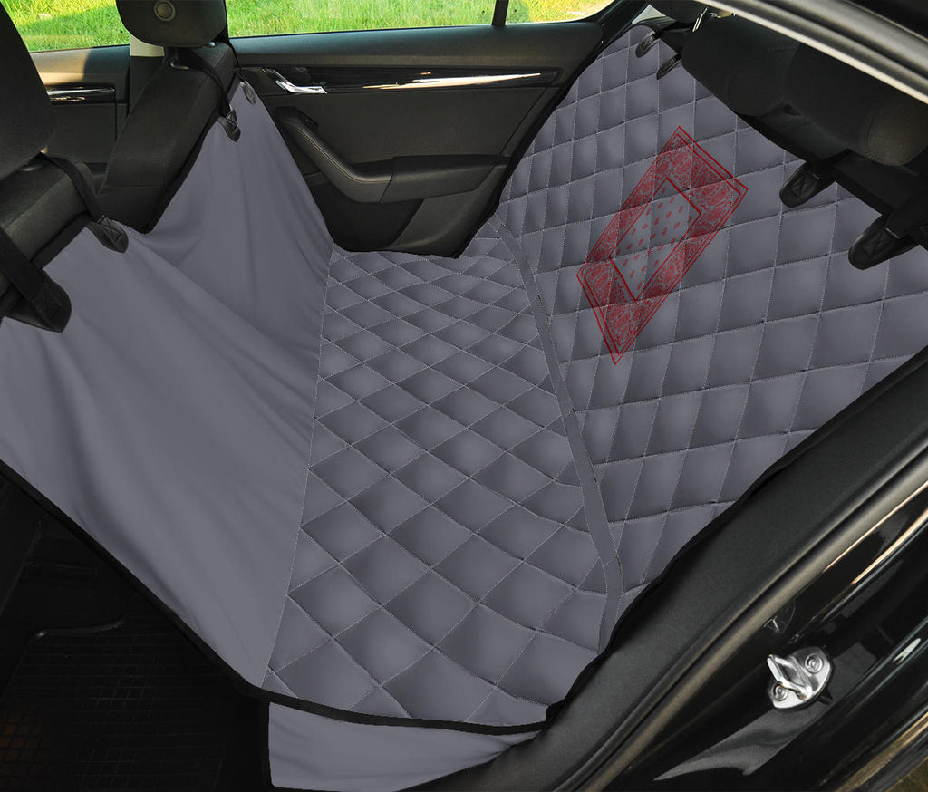gray and red back seat pet cover
