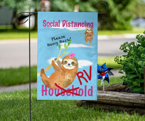 social distancing RV Campers sign with sloths