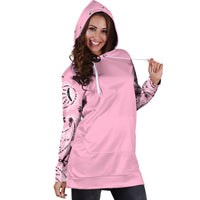 Light Pink Bandana Hoodie Dress hood up