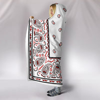 side view White Bandana Hooded Blanket