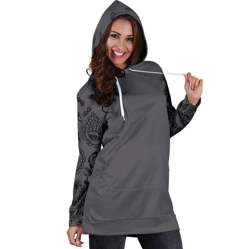 Gray and Black Bandana Hoodie Dress front