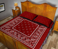 Maroon Bandana Bed Quilts with Shams