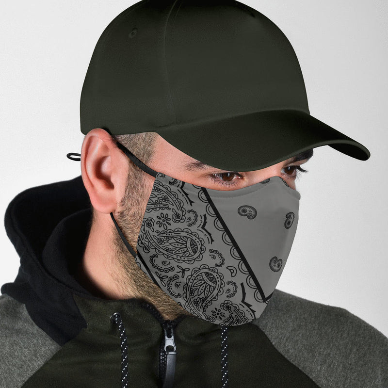 Adjustable Gray and Black Bandana Face Mask with 5 Layer Filters