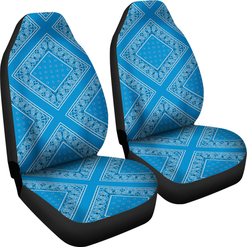 Sky Blue Bandana Car Seat Covers - Diamond