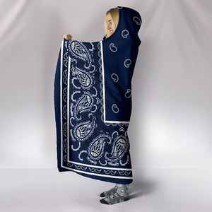 Navy Blue Bandana Hooded Blanket