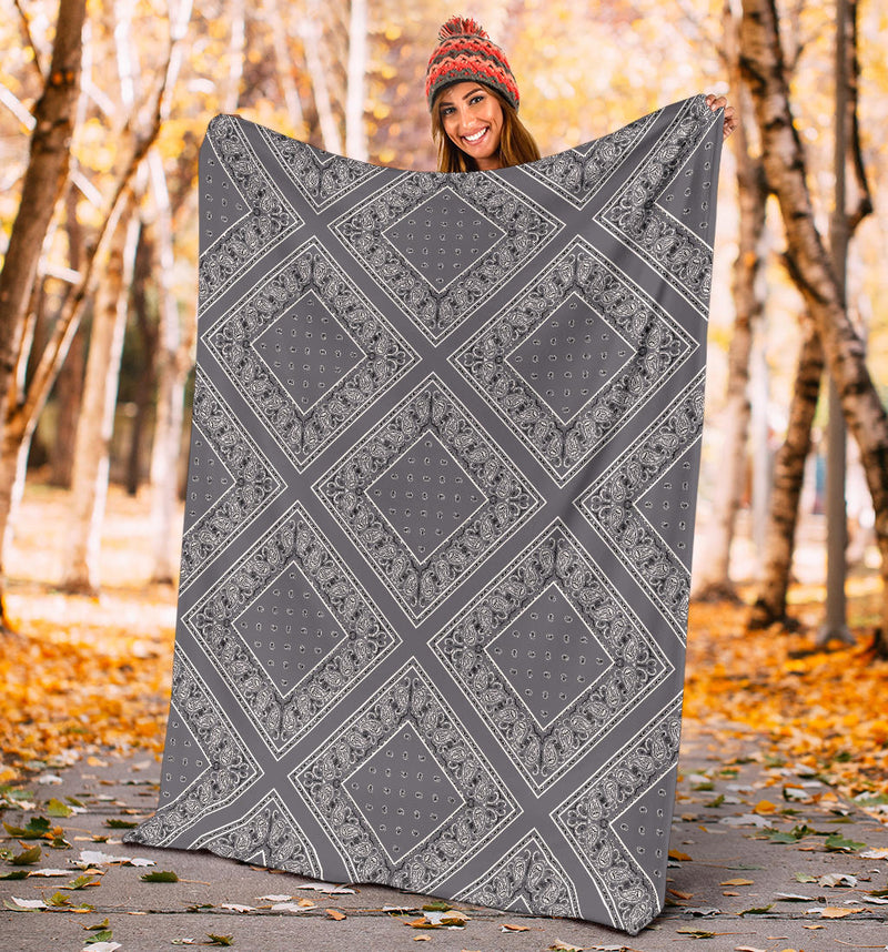 Gray Bandana Diamond Throw Blankets