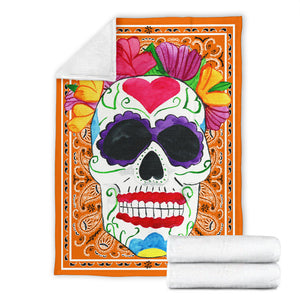 Ultra Plush Orange Bandana Sugar Skull Fleece Throw