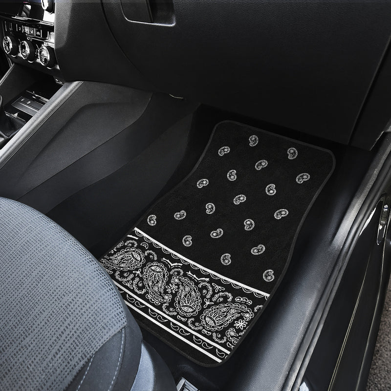 Quad Black Bandana Car Mats - Fancy