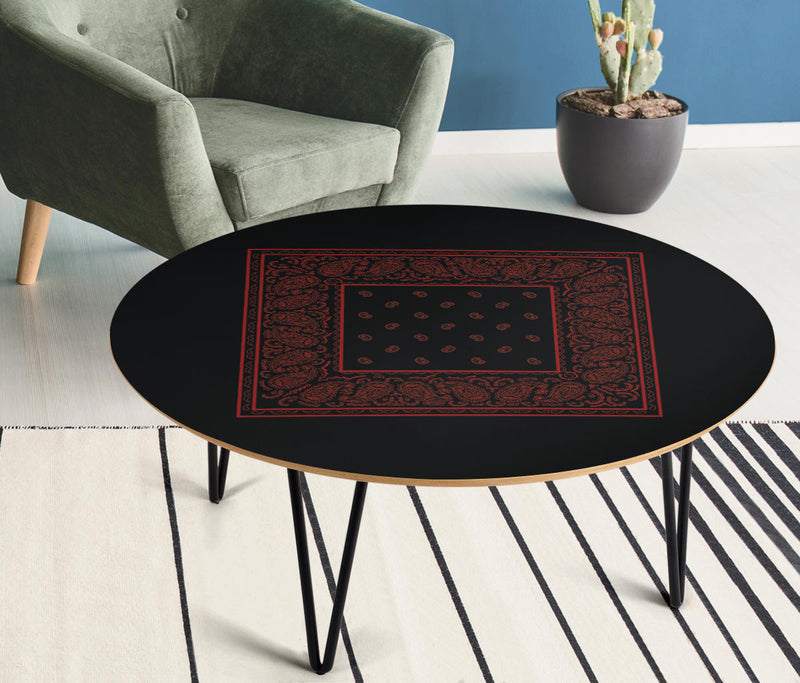 Black and Red Bandana Round Coffee Table
