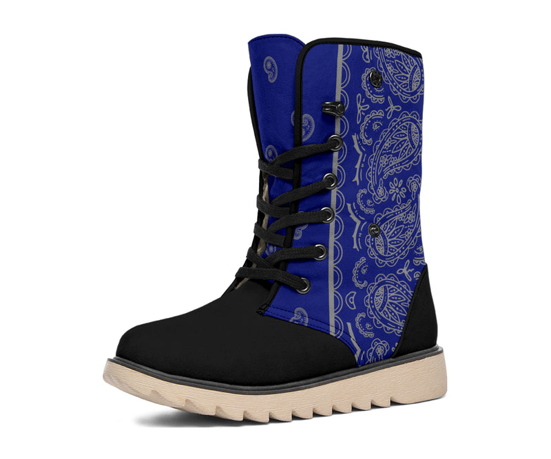 Blue and Grey Bandana Women's Winter Boots