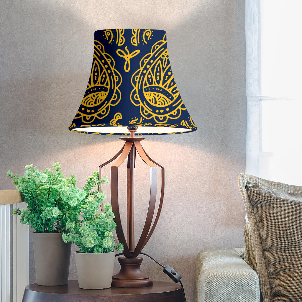 Navy and Gold Paisley Bell Lampshades