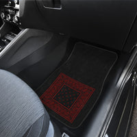 Dual Black and Red Bandana Car Mats - Minimal