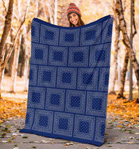 Blue Gray Bandana Throw Blankets