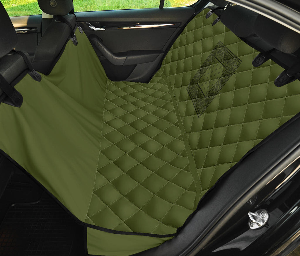 green pet seat cover with black bandana