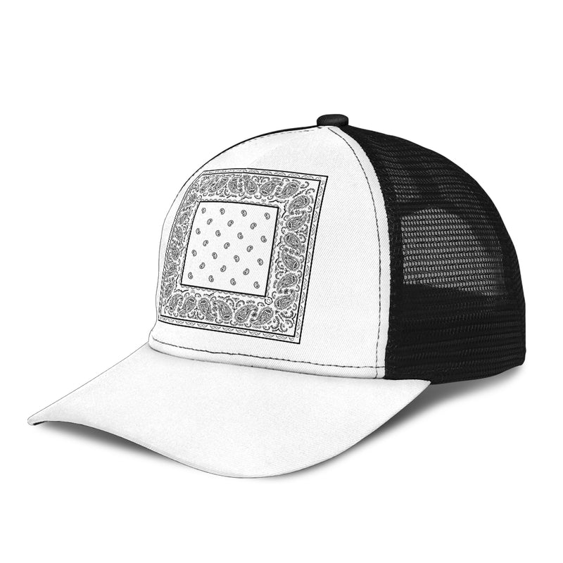 white bandana ball cap