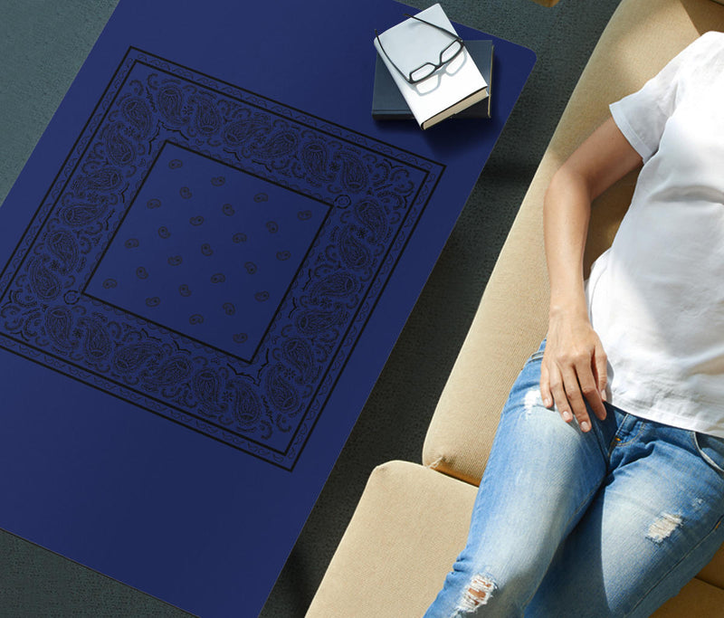 Blue and Black Bandana Rectangular Coffee Table