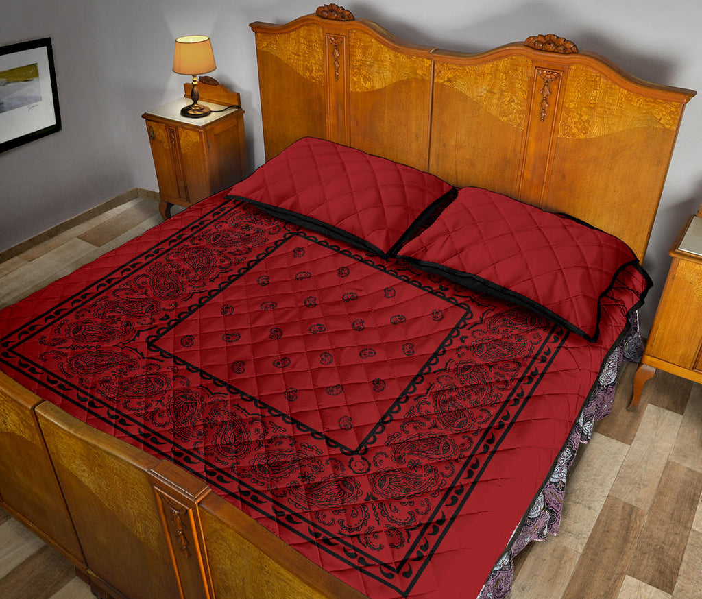 Red with Black Bandana Bed Quilts with Shams