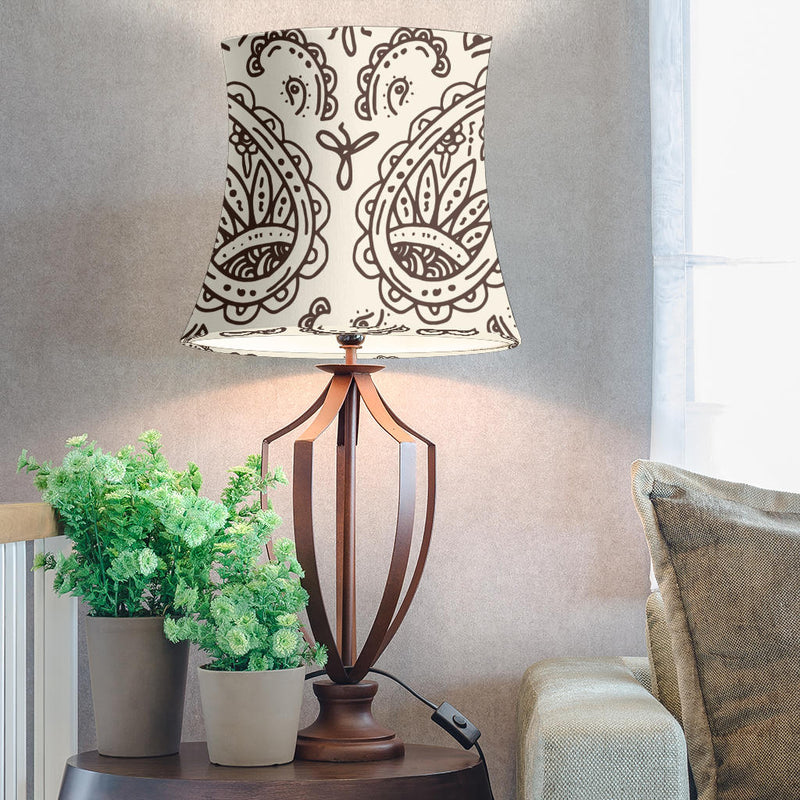 Cream and Brown Paisley Drum Lampshade