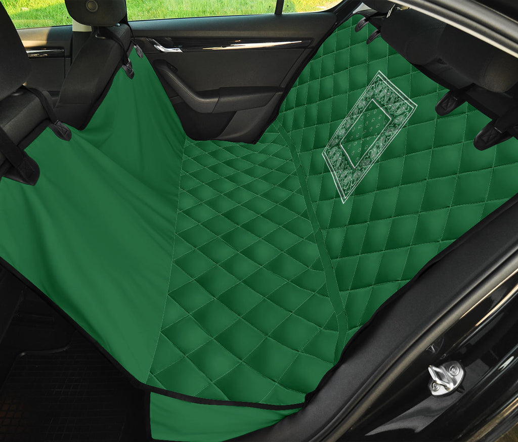 green bandana print car pet seat cover