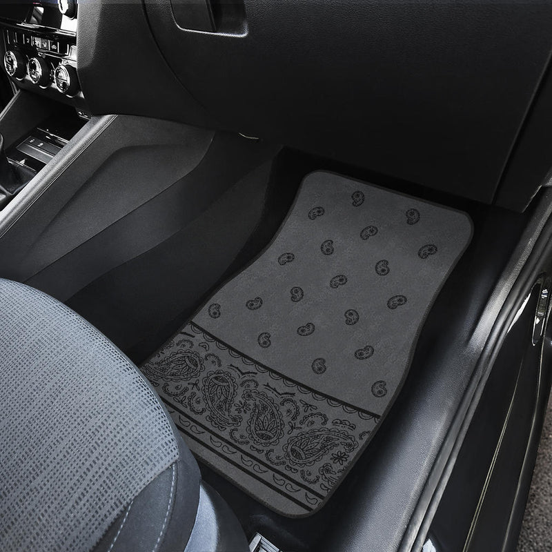 Quad Black and Gray Bandana Car Mats - Fancy