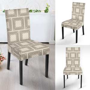 Cream and Brown Bandana Dining Chair Covers - 4 Pattern