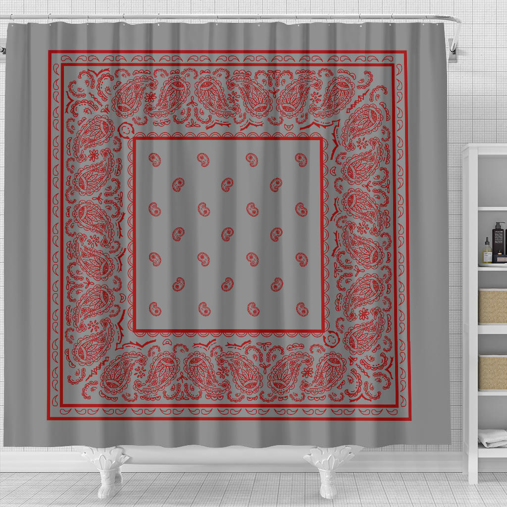 Gray and Red Bandana Bathroom Decor