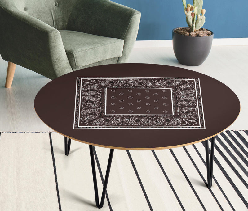 Brown Bandana Round Birch Wood Coffee Table