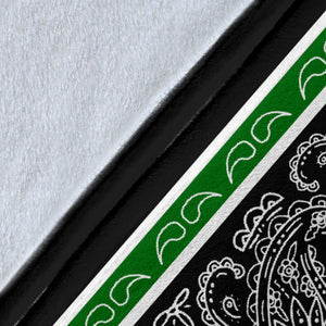 Green and Black Bandana Throw Blanket Details
