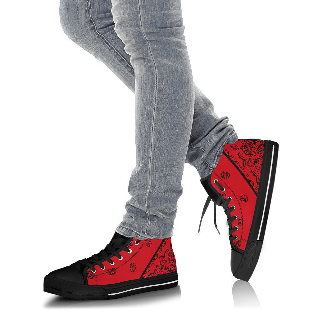 Red and Black Bandana High Top Sneakers - No Box
