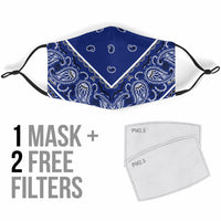 Adjustable Royal Blue Bandana Face Mask with 5 Layer Filters