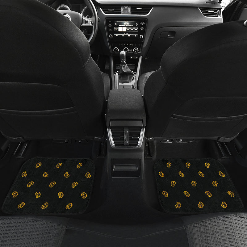 Quad Black Gold Bandana Car Mats - Fancy