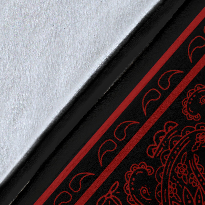 Black with Red Bandana Fleece Throw Blanket Details