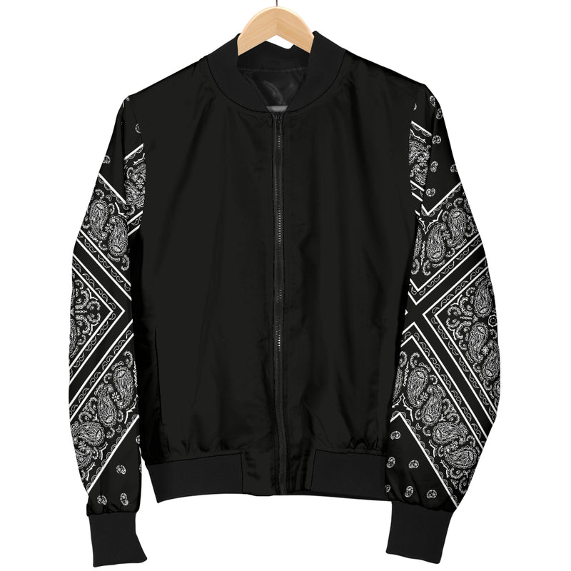 Men's Black Bandana Sleeved Bomber Jacket