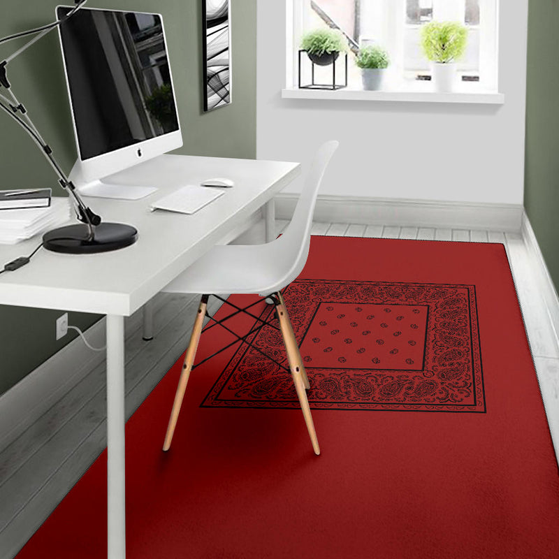 Red with Black Bandana Area Rugs - Minimal