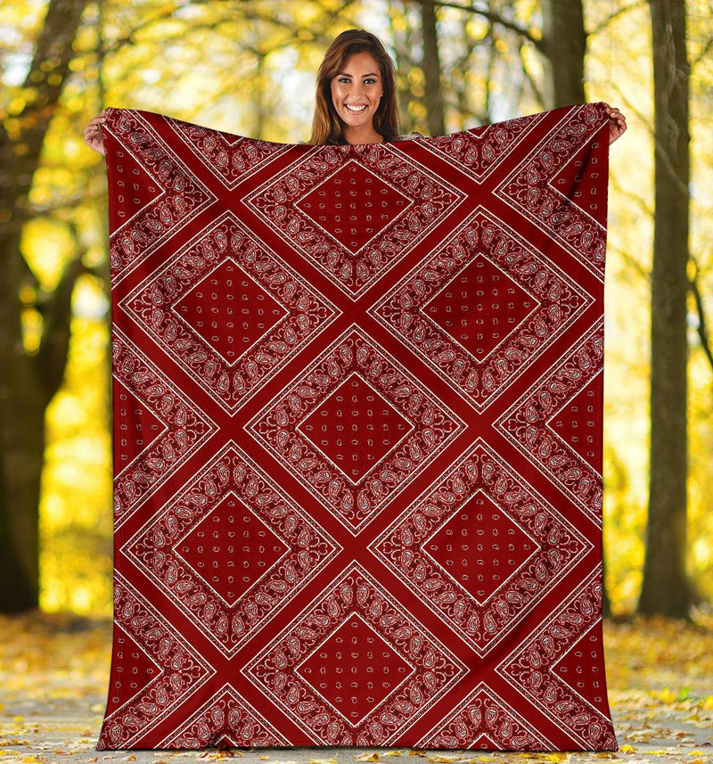 Maroon Bandana Throw Blankets