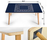 Navy Blue Bandana Rectangular Coffee Table Sizes
