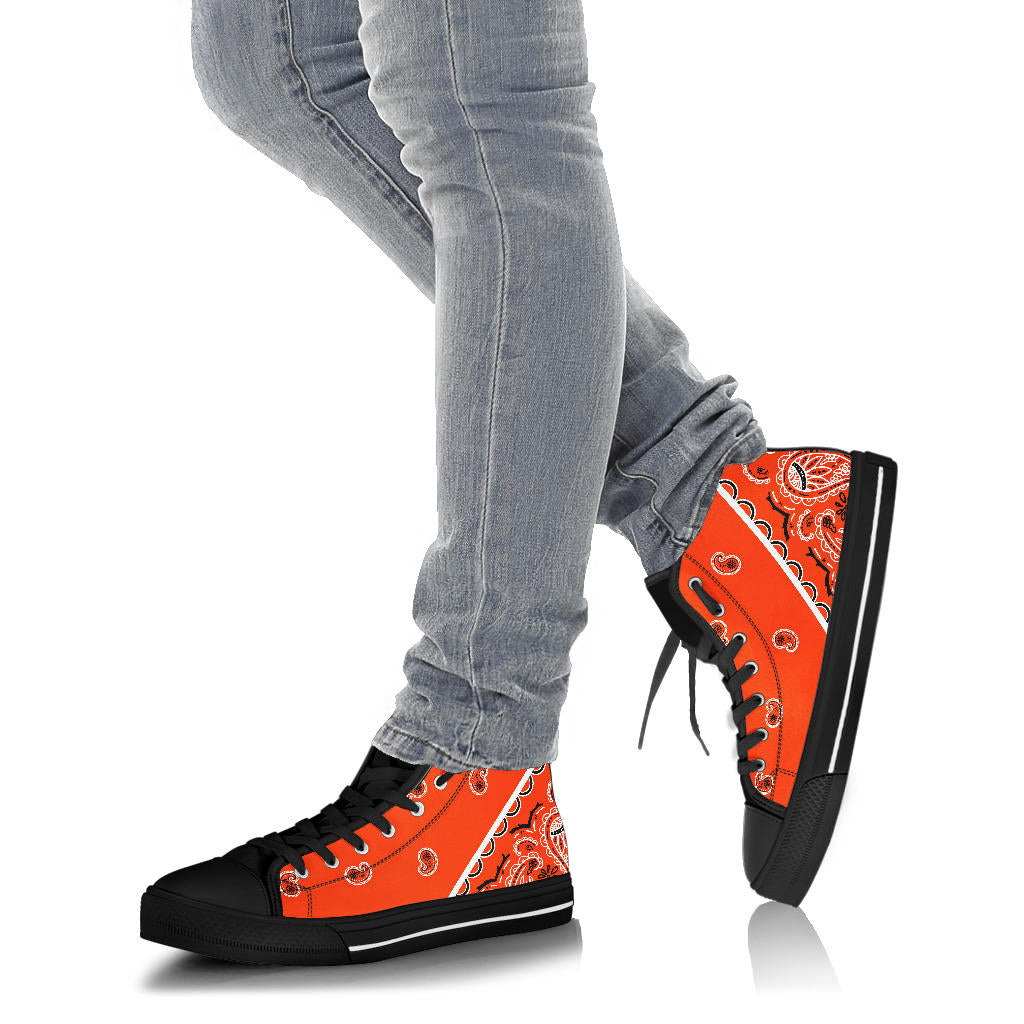 Perfect Orange Bandana High Top Sneakers - No Box